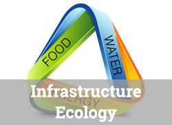 """Food/Water/Ecology Nexus Graphic with text overlay, """"Infrastructure Ecology."""""""