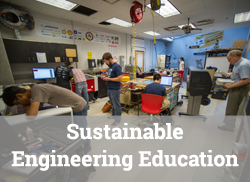 """Engineering lab scene with text overlay, """"Sustainable Engineering Education."""""""